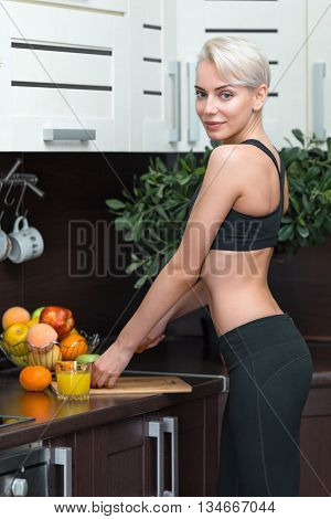 young woman with organic food or fruits
