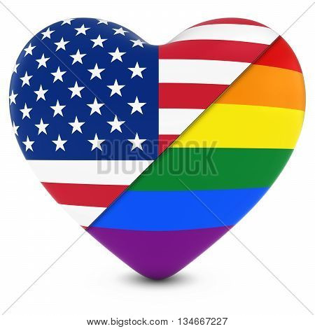 United States Flag Heart Mixed With Gay Pride Rainbow Flag Heart - 3D Illustration