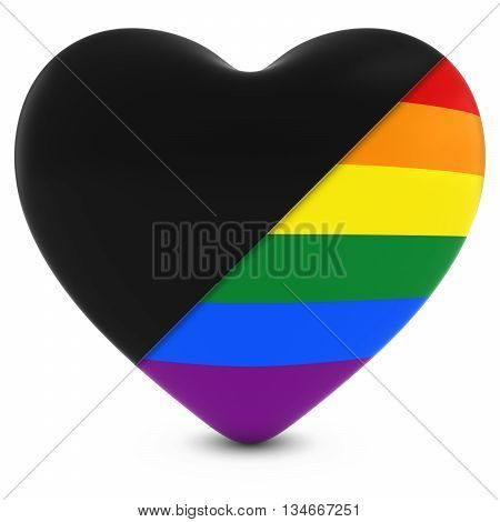 Black Mourning Heart Mixed With Gay Pride Rainbow Flag Heart - 3D Illustration