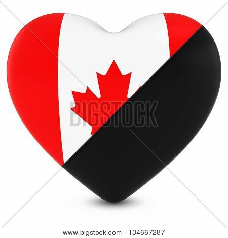 Black Mourning Heart Mixed With Canadian Flag Heart - 3D Illustration