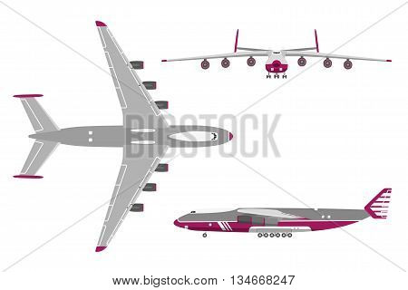 Airplane in a flat style on white background. Top view front view side view. Vector illustration