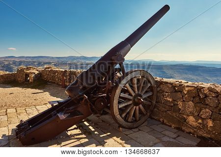 Canon on the castle of Morella province of Castellon Valencian Community Spain