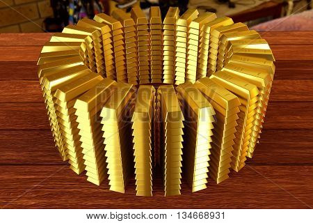circle heap of a gold bars on the planks, 3d rendering