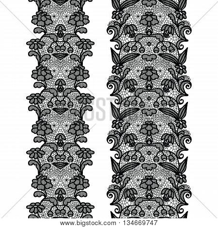 Black lacy vintage elegant trims. Vector illustration.
