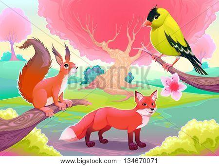 Fantasy natural scenery with funny animals. Vector cartoon illustration
