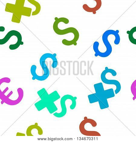 Add Dollar vector seamless repeatable pattern. Style is flat add dollar and dollar symbols on a white background.