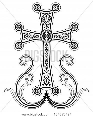 Traditional Armenian Apostolic Church cross clip art. Cross with ornaments and blossomed branches. Vector illustration.