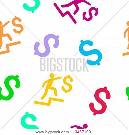 Business Steps vector seamless repeatable pattern. Style is flat business steps and dollar symbols on a white background.
