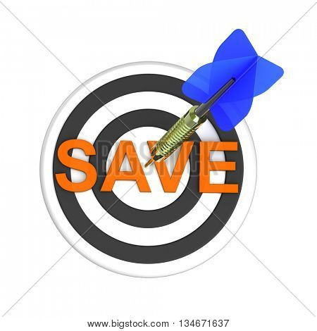 Dart hitting target. The concept of saving money. 3D illustration.