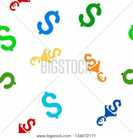 Dollar Euro Conversion Filter vector seamless repeatable pattern. Style is flat dollar euro conversion filter and dollar symbols on a white background.