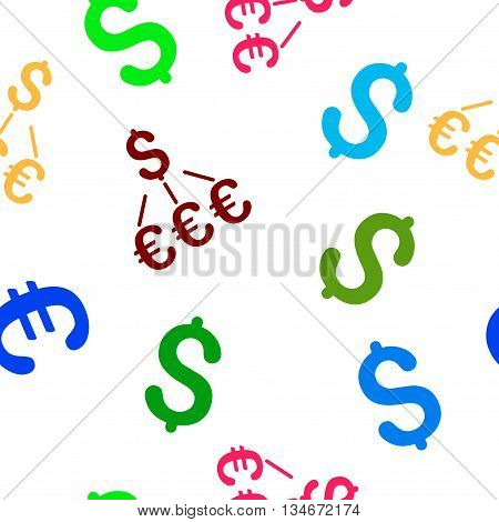 Dollar Euro Links vector seamless repeatable pattern. Style is flat dollar euro links and dollar symbols on a white background.