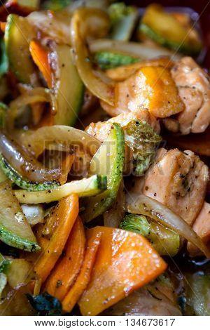 Sauteed, Salmon And Vegetables
