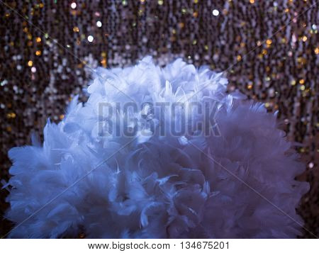 white feathers on golden sequins pattern. Sparkling tinsel on wool fabric as background with frill.