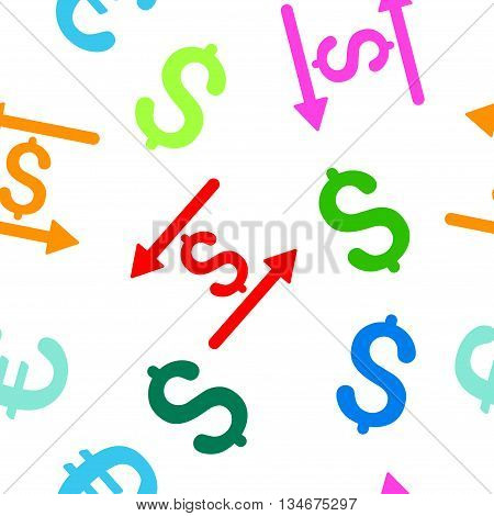 Money Transactions vector seamless repeatable pattern. Style is flat money transactions and dollar symbols on a white background.