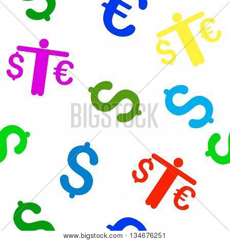 Person Compare Euro Dollar vector seamless repeatable pattern. Style is flat person compare euro dollar and dollar symbols on a white background.