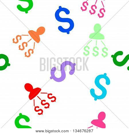 Person Expenses vector seamless repeatable pattern. Style is flat person expenses and dollar symbols on a white background.