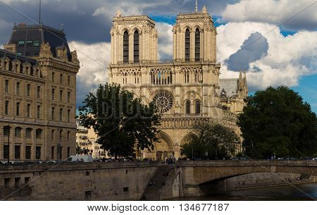 Paris France-June 15 2016 :The Notre Dame is a historic Catholic cathedral on the eastern half of the ile de la Cite in 4th arrondissement of Paris.