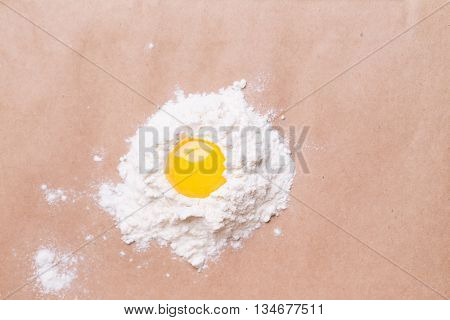 Broken Egg On Wheat Flour