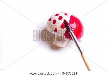 One champignon fresh unpeeled button mushroom painted in red color dots with paint brush isolated on white background