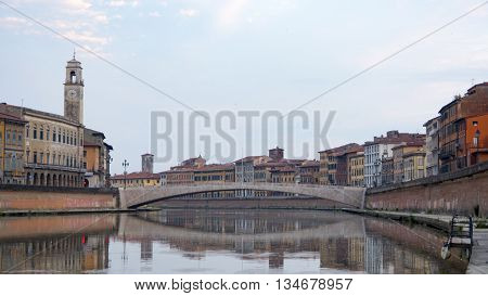 Pisa, Arno river. Early in the morning in Tuscany, Italy, Europe