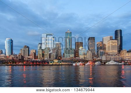 Panoramic View Of Seattle Downtown From Puget  Sound