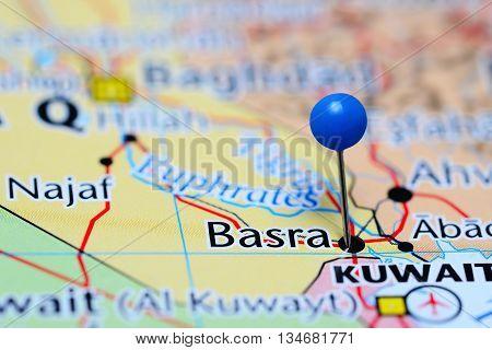 Basra pinned on a map of Iraq