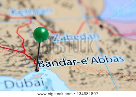 Bandar Abbas pinned on a map of Iran