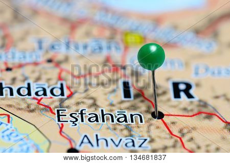 Esfahan pinned on a map of Iran