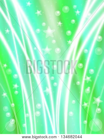 Festive Blue Green Celebration Background with Stars Bubbles and Light Beams