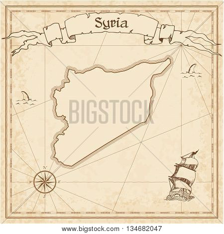 Syrian Arab Republic Old Treasure Map. Sepia Engraved Template Of Pirate Map. Stylized Pirate Map On