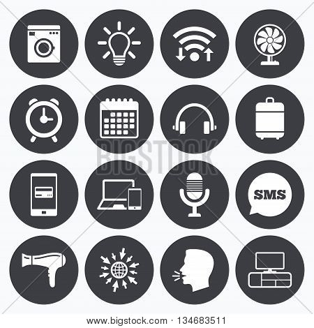 Wifi, calendar and mobile payments. Home appliances, device icons. Ventilator sign. Hairdryer, washing machine and lamp symbols. Sms speech bubble, go to web symbols.