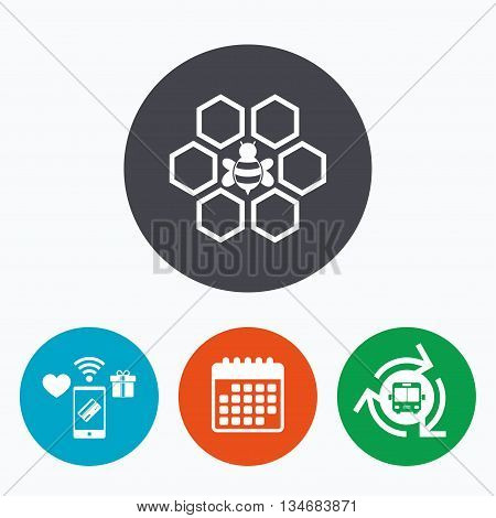 Honeycomb with bee sign icon. Honey cells symbol. Sweet natural food. Mobile payments, calendar and wifi icons. Bus shuttle.