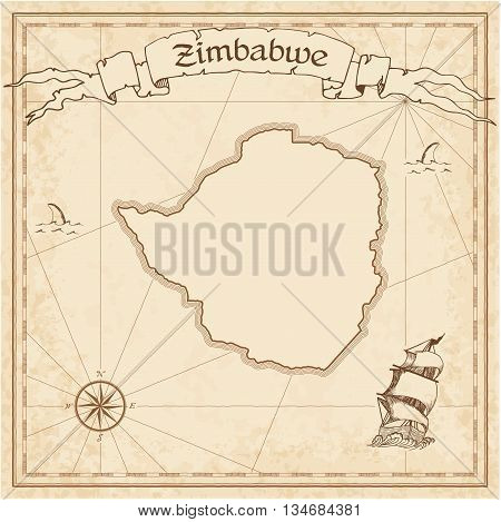 Zimbabwe Old Treasure Map. Sepia Engraved Template Of Pirate Map. Stylized Pirate Map On Vintage Pap