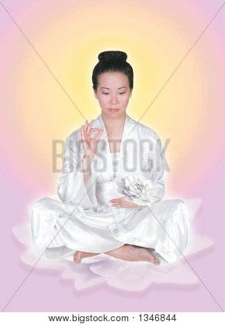 Asian Lady On Lotus With Sun