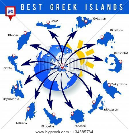 Greek islands map illustration in colorful on white