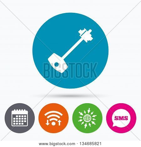 Wifi, Sms and calendar icons. Key sign icon. Unlock tool symbol. Go to web globe.