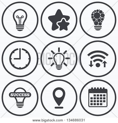 Clock, wifi and stars icons. Light lamp icons. Circles lamp bulb symbols. Energy saving. Idea and success sign. Calendar symbol.
