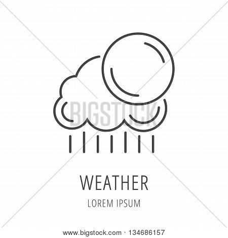 logo or label weather. Line style logotype template with weather. Easy to use business template. Vector abstract logo or emblem.