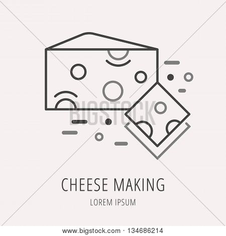 logo or label cheese making. Line style logotype template with cheese. Easy to use business template. Vector abstract logo or emblem.