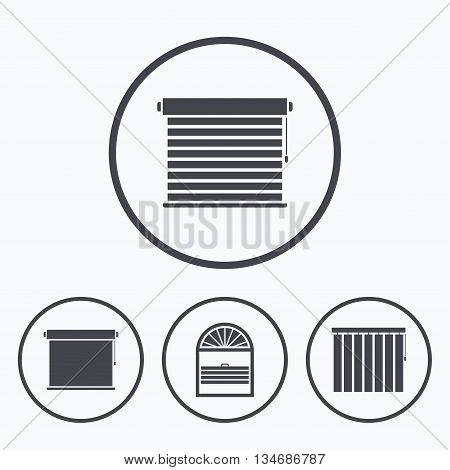 Louvers icons. Plisse, rolls, vertical and horizontal. Window blinds or jalousie symbols. Icons in circles.