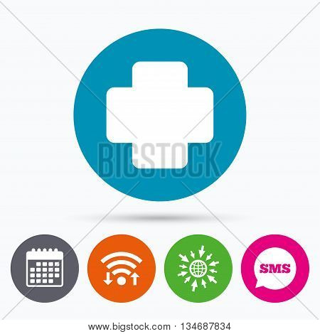 Wifi, Sms and calendar icons. Medical cross sign icon. Diagnostics symbol. Go to web globe.
