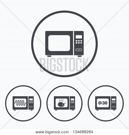 Microwave oven icons. Cook in electric stove symbols. Grill chicken with timer signs. Icons in circles.