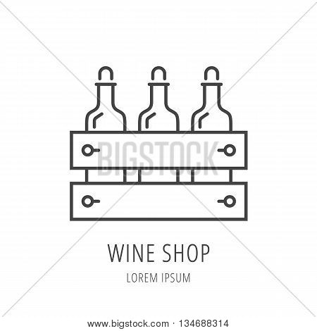 logo or label wine shop. Line style logotype template with wine box. Easy to use business template. Vector abstract logo or emblem.