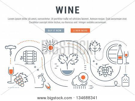Flat line illustration of wine making grape cultivation and sale of alcoholic beverages. Concept for web banners and printed materials. Template with buttons for website banner and landing page.