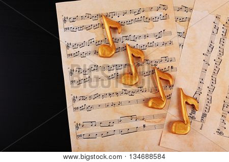 Music sheets and notes, top view
