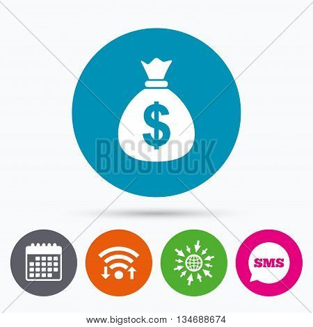 Wifi, Sms and calendar icons. Money bag sign icon. Dollar USD currency symbol. Go to web globe.