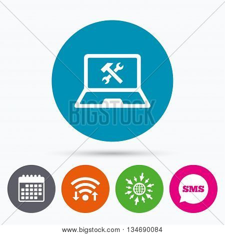 Wifi, Sms and calendar icons. Laptop repair sign icon. Notebook fix service symbol. Go to web globe.