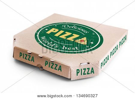 Cardboard pizza box isolated on white background, close up