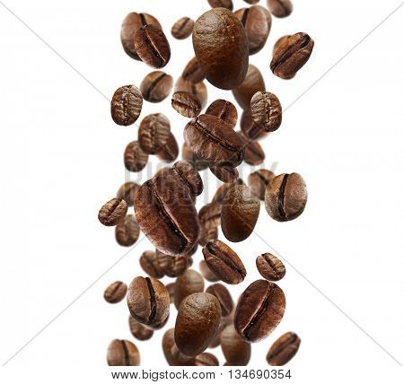 Falling coffee beans isolated on white