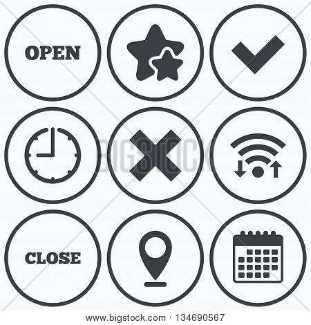 Clock, wifi and stars icons. Open and Close icons. Check or Tick. Delete remove signs. Yes correct and cancel symbol. Calendar symbol.